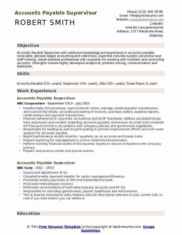Accounts Payable Supervisor Resume Template