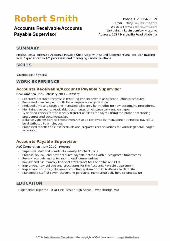 Accounts Receivable Payable Supervisor Resume Model