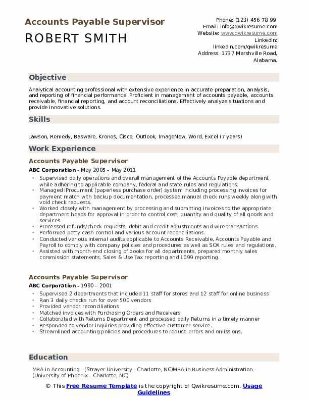 Accounts Payable Supervisor Resume Model