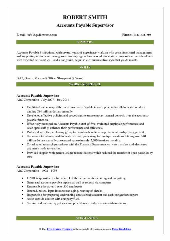 Accounts Payable Supervisor Resume example
