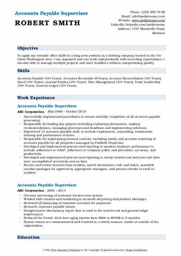 Regional Accounts Payable Manager Resume Model