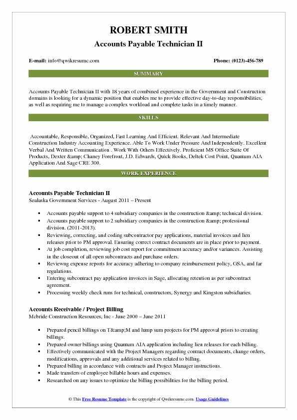 Accounts Payable Technician II Resume Model