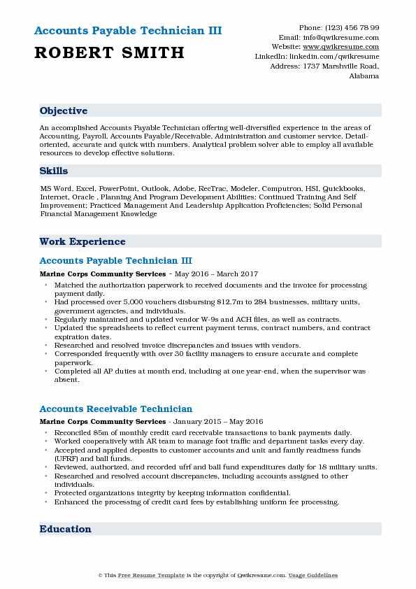 Accounts Payable Technician III Resume Example