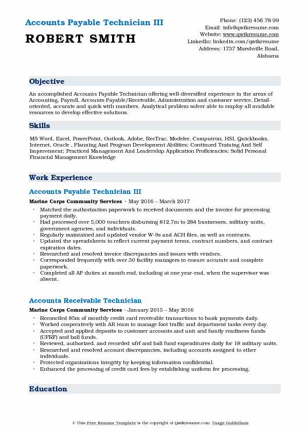 Accounts Payable Technician III Resume Format