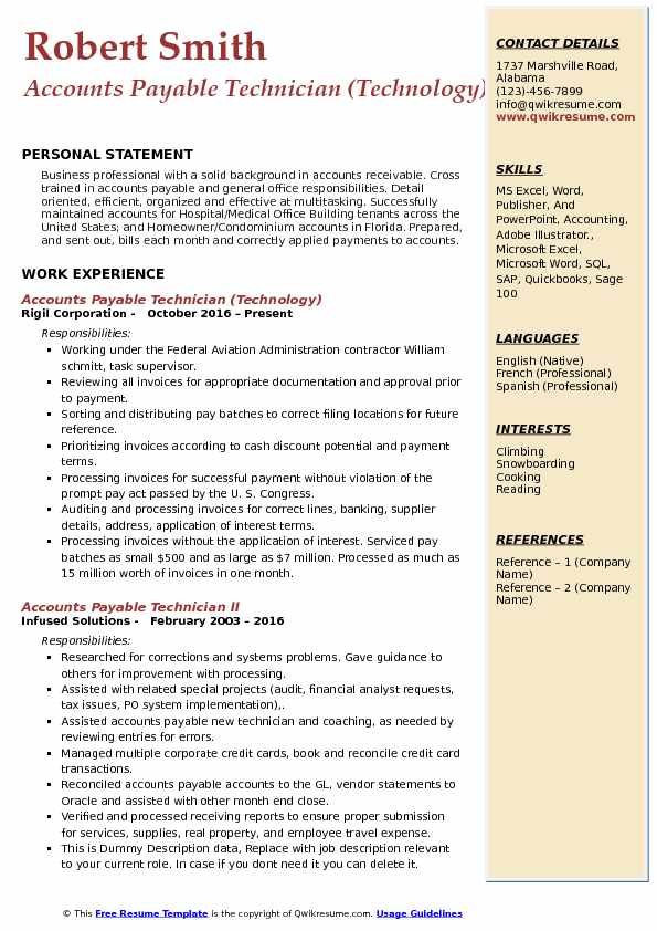 Accounts Payable Technician (Technology) Resume Template