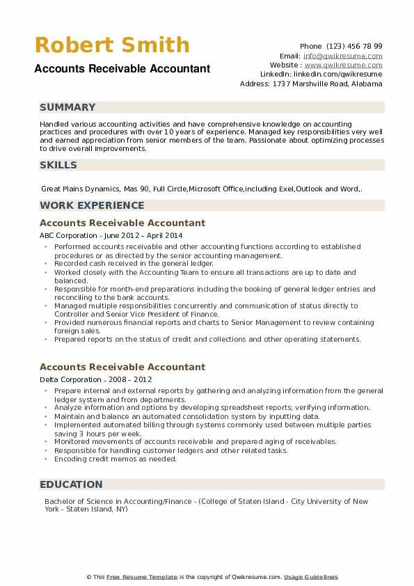 Accounts Receivable Accountant Resume example