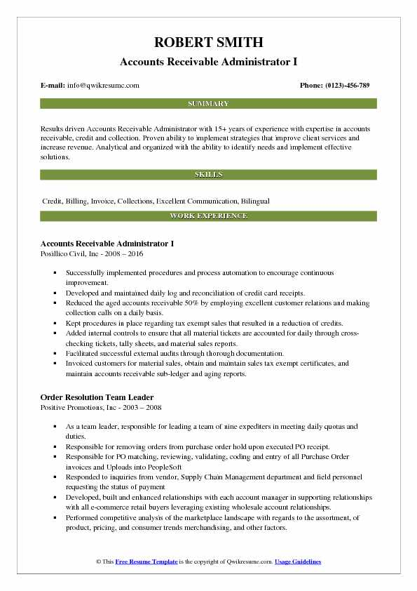 Accounts Receivable Administrator I Resume Template