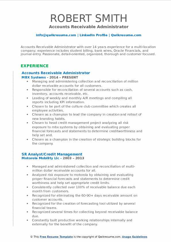 Accounts Receivable Administrator Resume Model