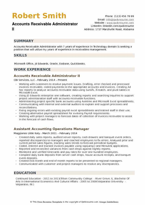 Accounts Receivable Administrator II Resume Sample