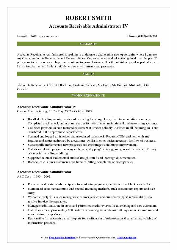 Accounts Receivable Administrator IV Resume Format