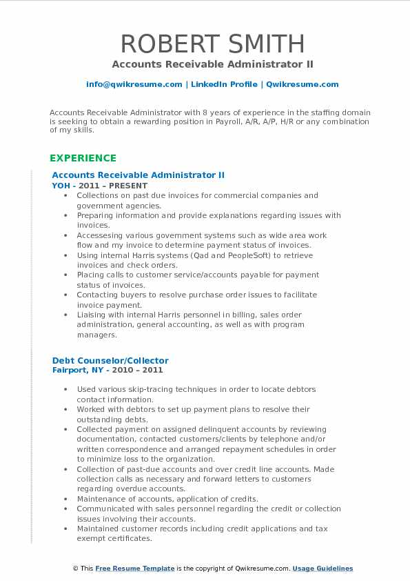 Accounts Receivable Administrator II Resume Format