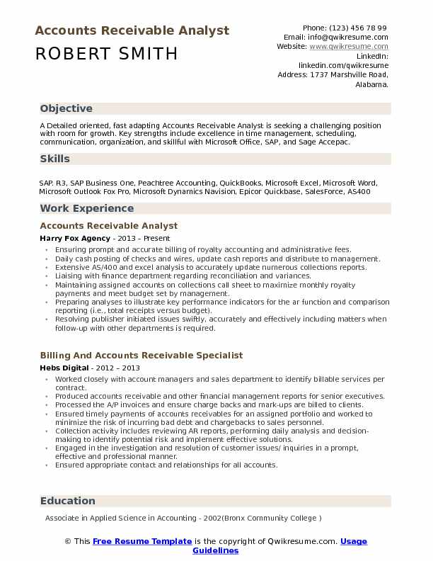 accounts receivable analyst resume samples
