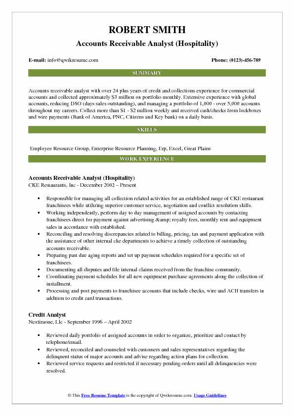 Accounts Receivable Analyst (Hospitality) Resume Format