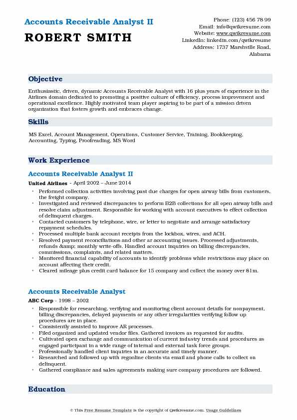 Accounts Receivable Analyst II Resume Sample