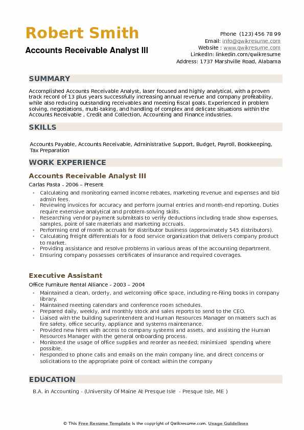 Accounts Receivable Analyst III Resume Sample