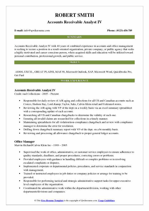 Accounts Receivable Analyst IV Resume Sample