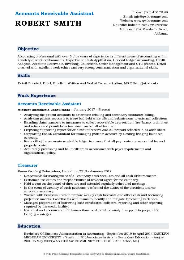 Accounts Receivable Assistant Resume Model
