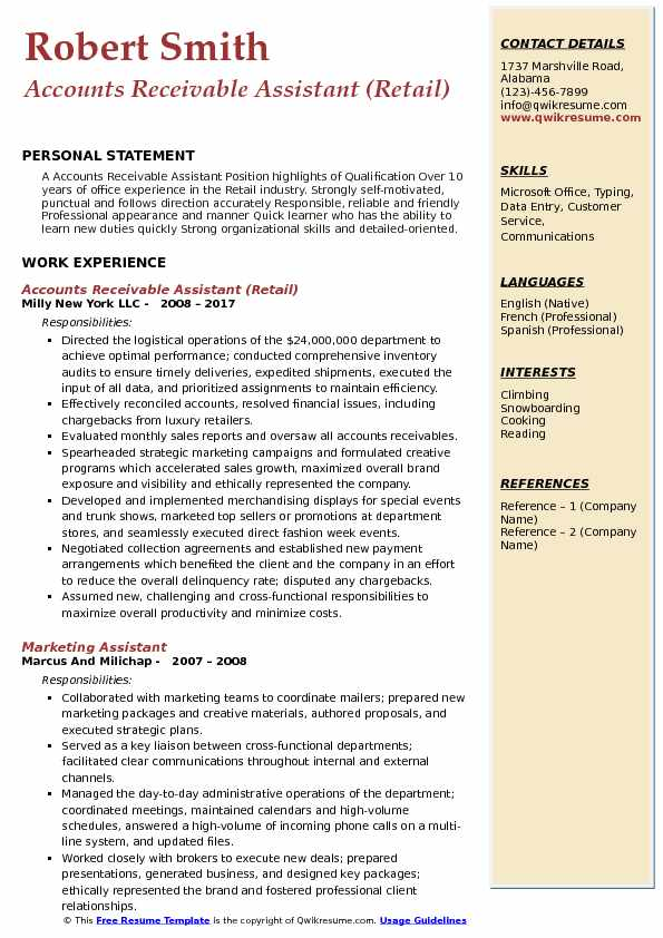 Accounts Receivable Assistant (Retail) Resume Template