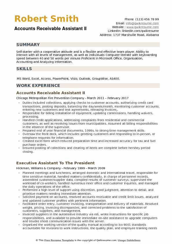 Accounts Receivable Assistant II Resume Template