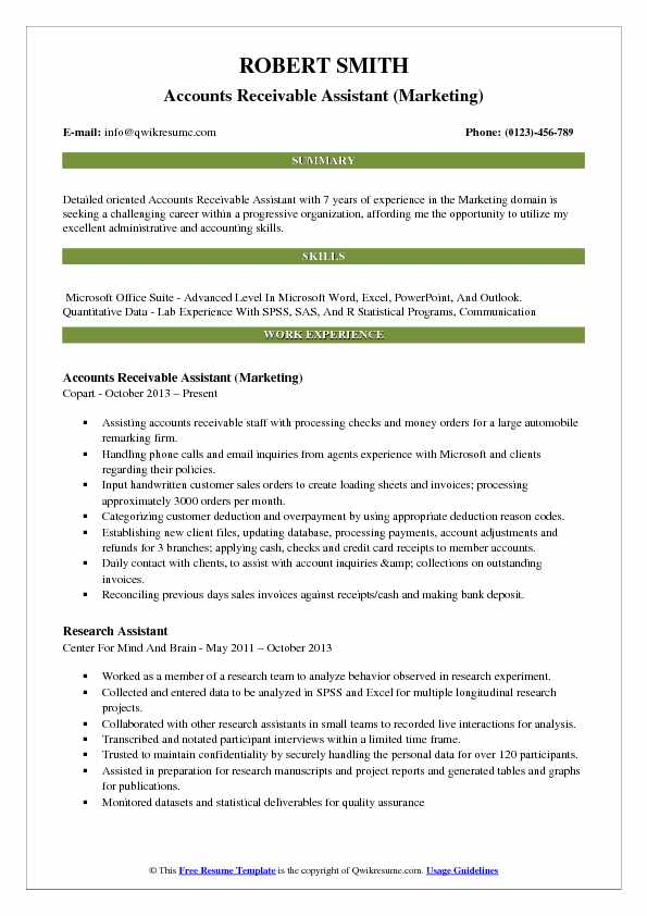 Accounts Receivable Assistant (Marketing) Resume Format