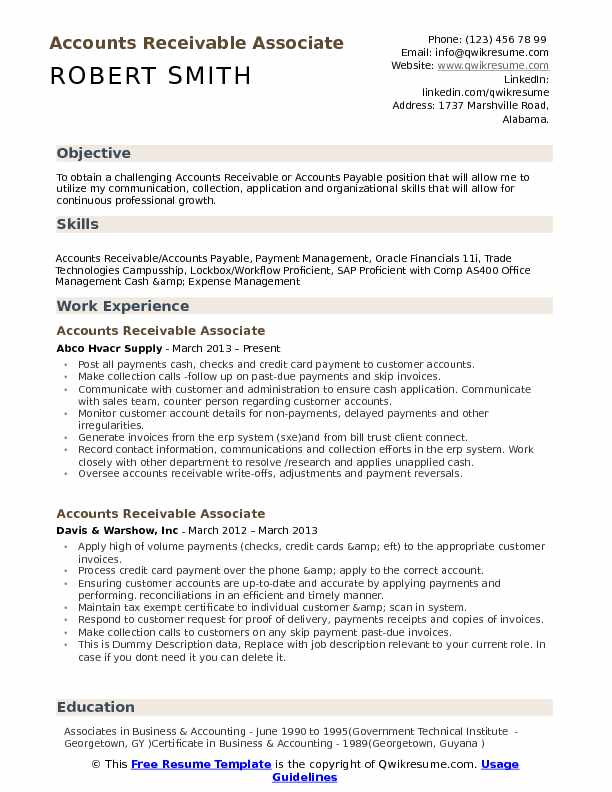 Accounts Receivable Associate Resume Template