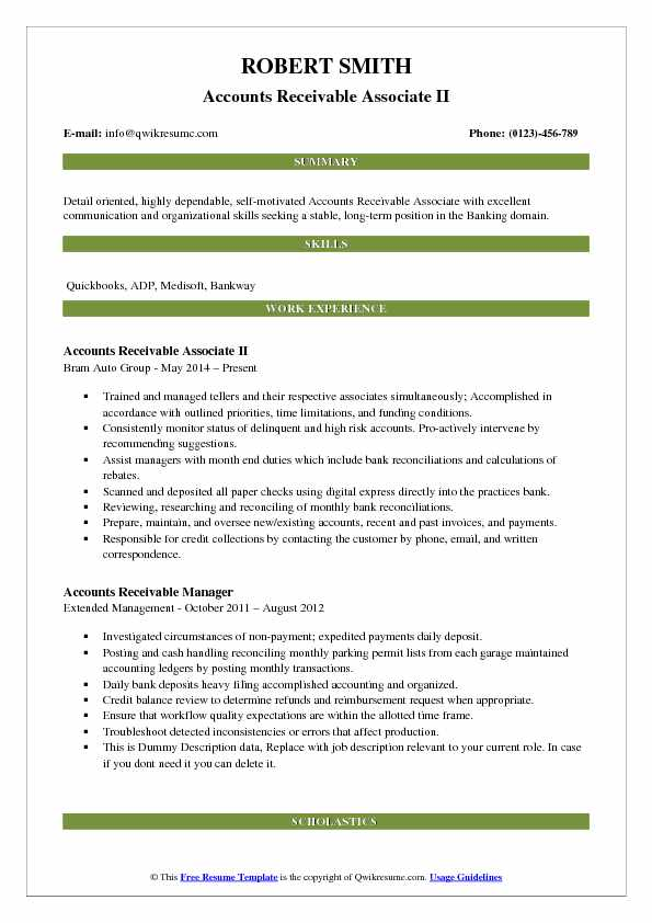 Accounts Receivable Associate II Resume Model