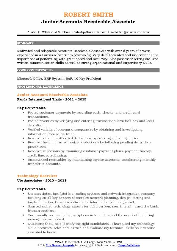 Junior Accounts Receivable Associate Resume Sample