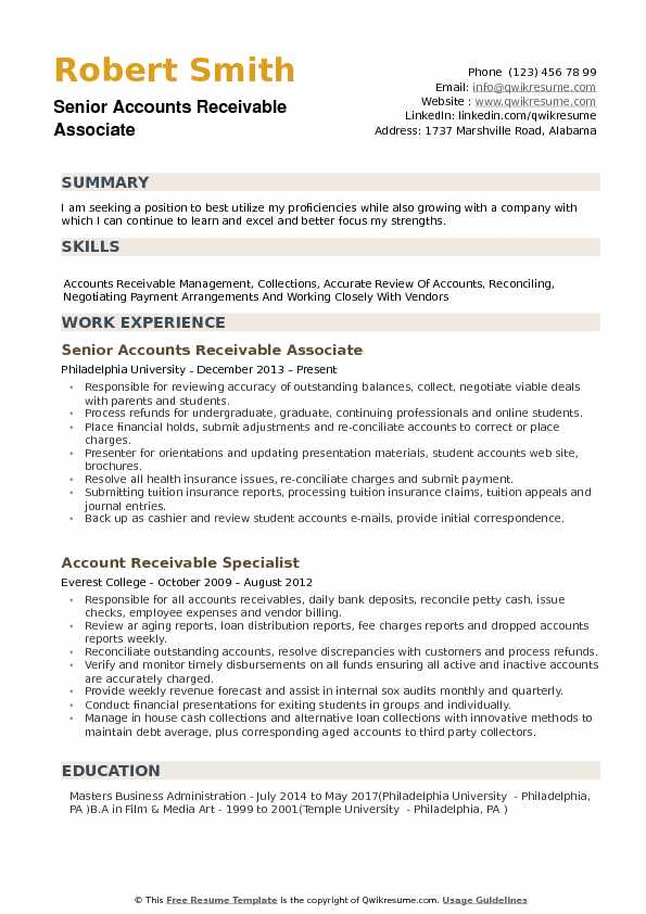 Accounts Receivable Associate Resume Samples