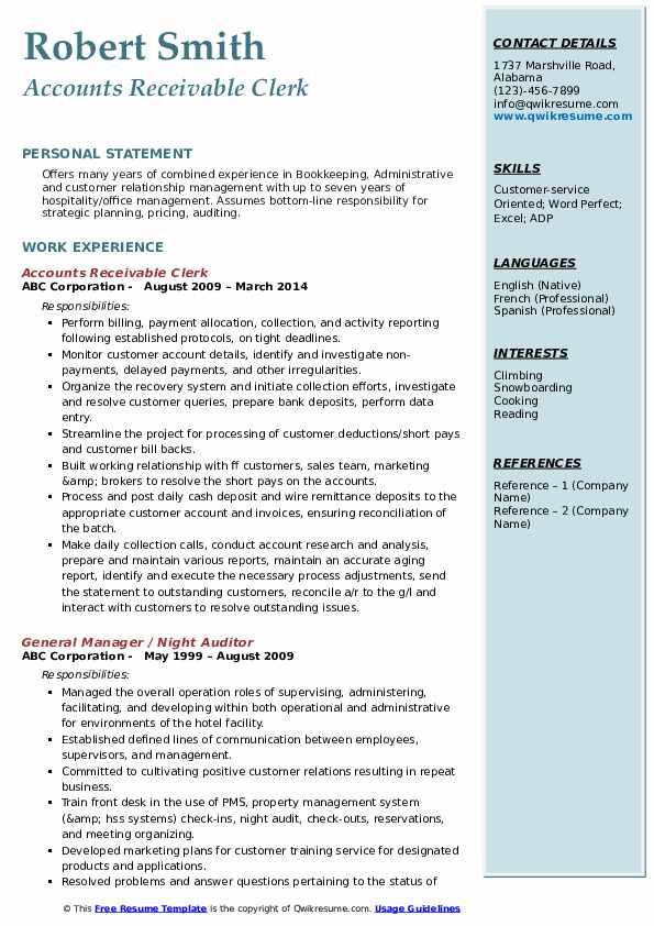Accounts Receivable Clerk Resume Model