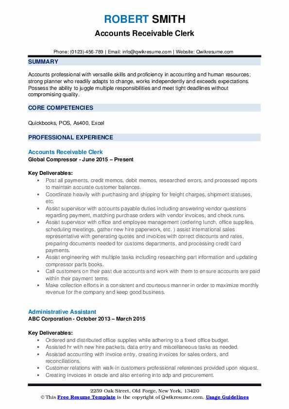 Accounts Receivable Clerk Resume Template