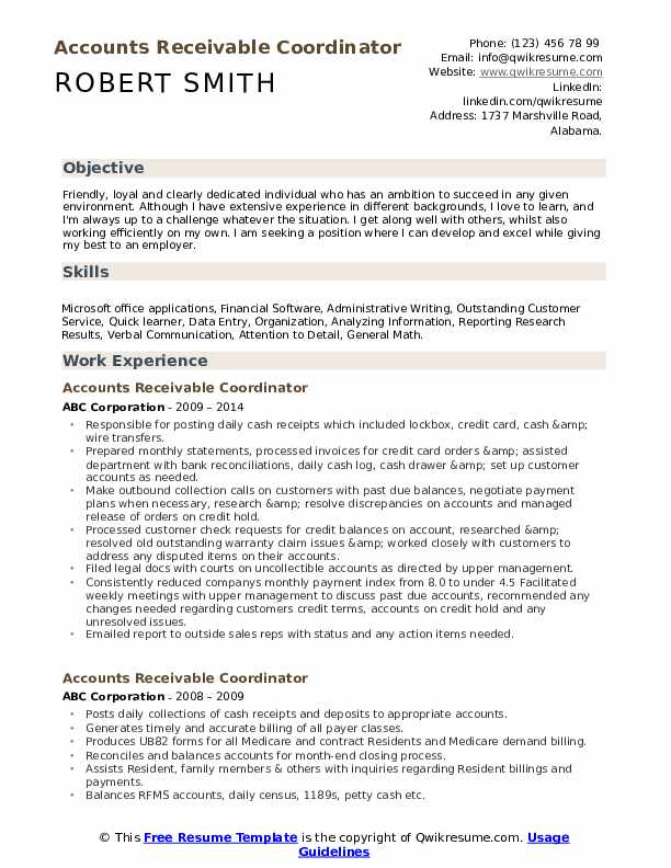 Accounts Receivable Coordinator Resume Example