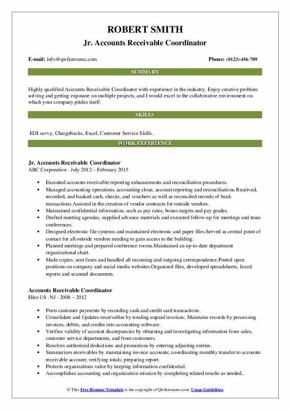 Jr. Accounts Receivable Coordinator Resume Example