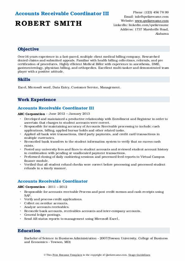 Accounts Receivable Coordinator III Resume Example