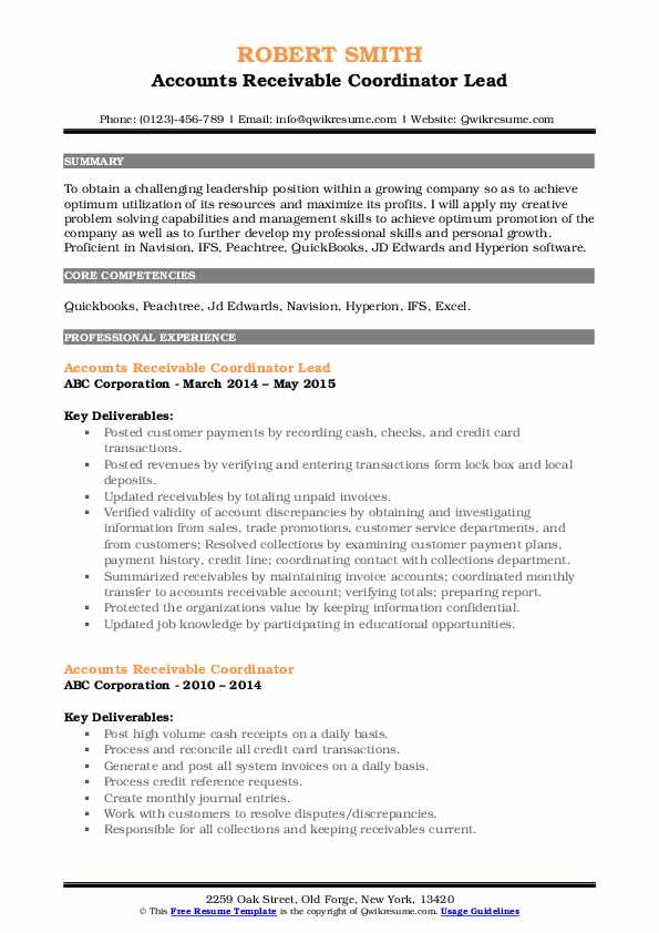 Accounts Receivable Coordinator Lead Resume Format