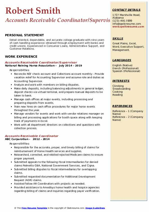 Accounts Receivable Coordinator/Supervisor Resume Model