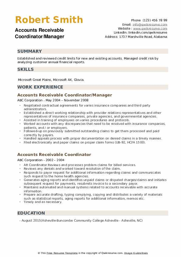 Accounts Receivable Coordinator/Manager Resume Format