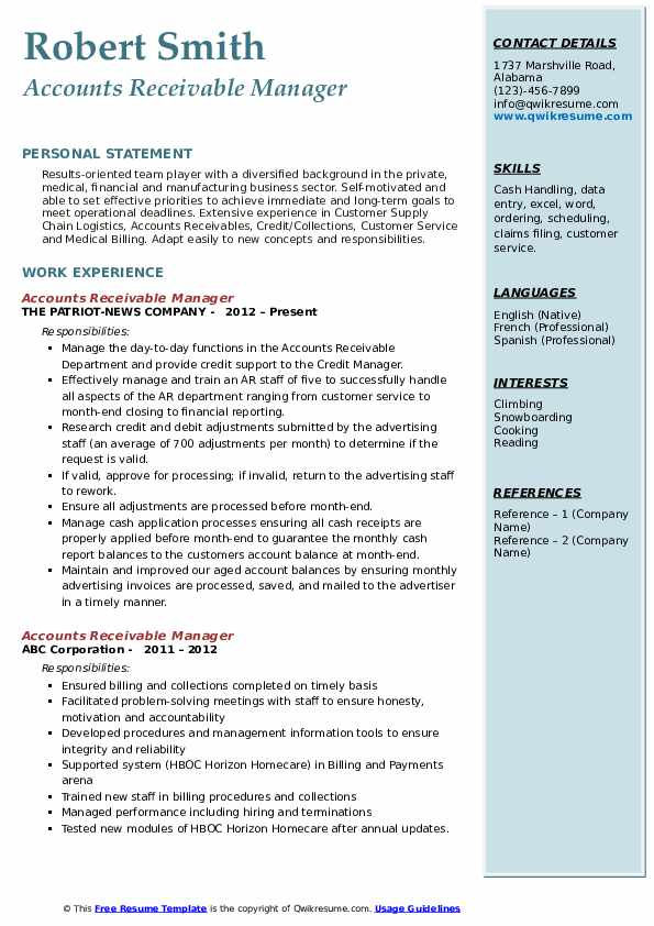 Accounts Receivable Manager Resume Example