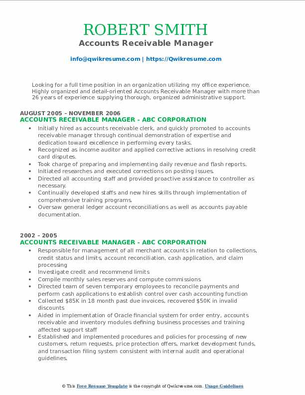 accounts receivable manager resume samples
