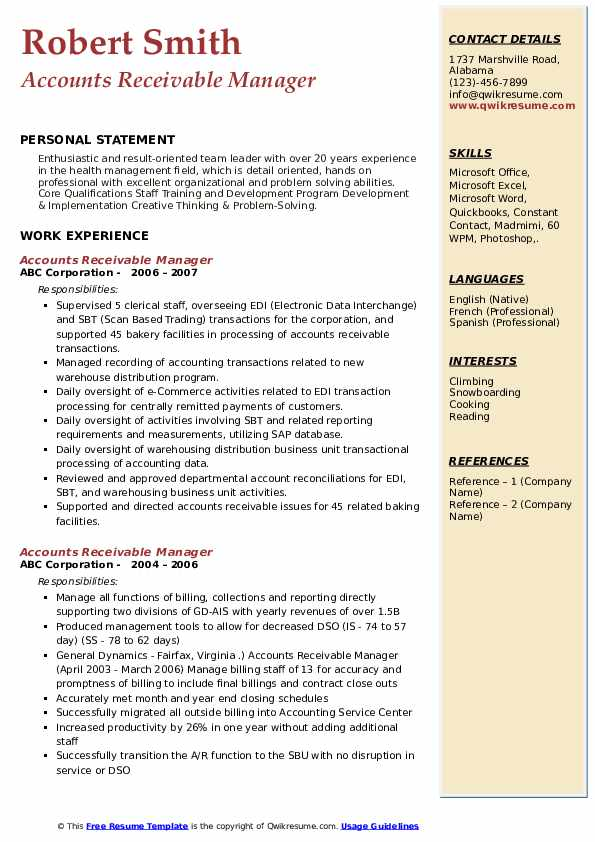 Accounts Receivable Manager Resume Samples Qwikresume
