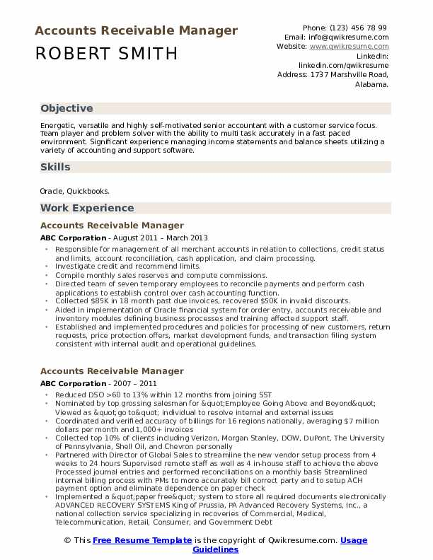 Accounts Receivable Manager Resume Model