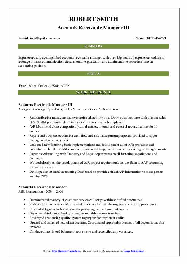 Accounts Receivable Manager Resume Samples | QwikResume