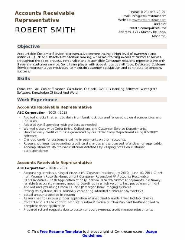 Accounts Receivable Representative Resume Sample