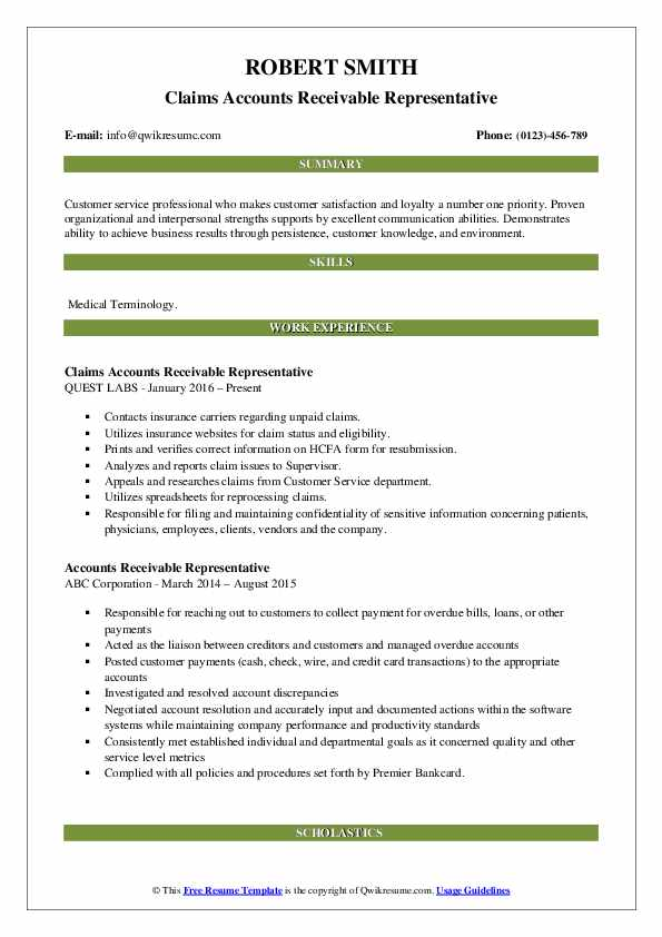 Claims Accounts Receivable Representative Resume Template