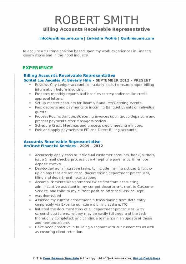 Billing Accounts Receivable Representative Resume Template