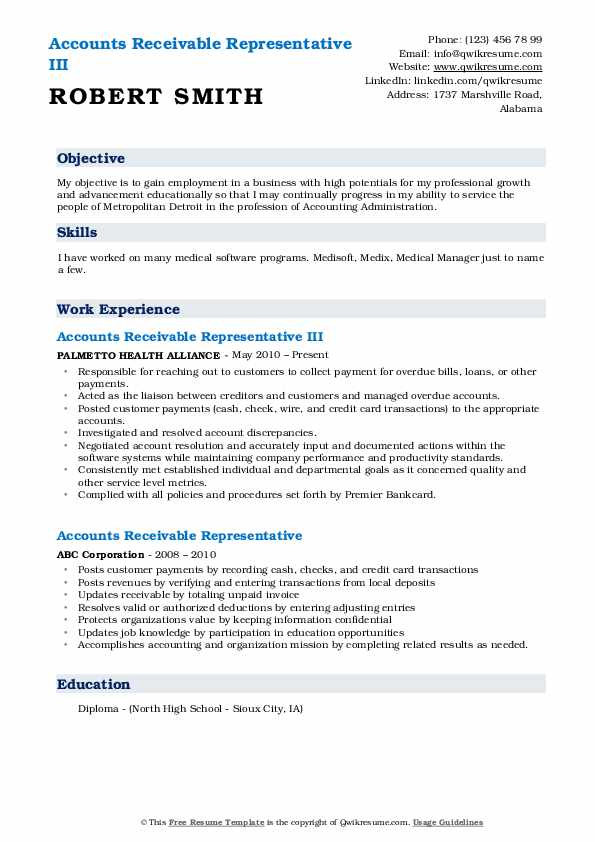 Accounts Receivable Representative III Resume Format