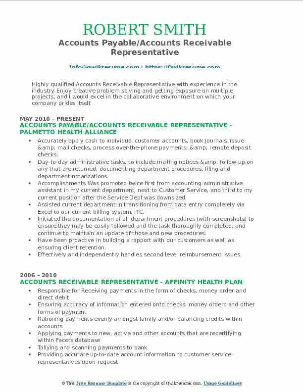 Accounts Payable/Accounts Receivable Representative Resume Format