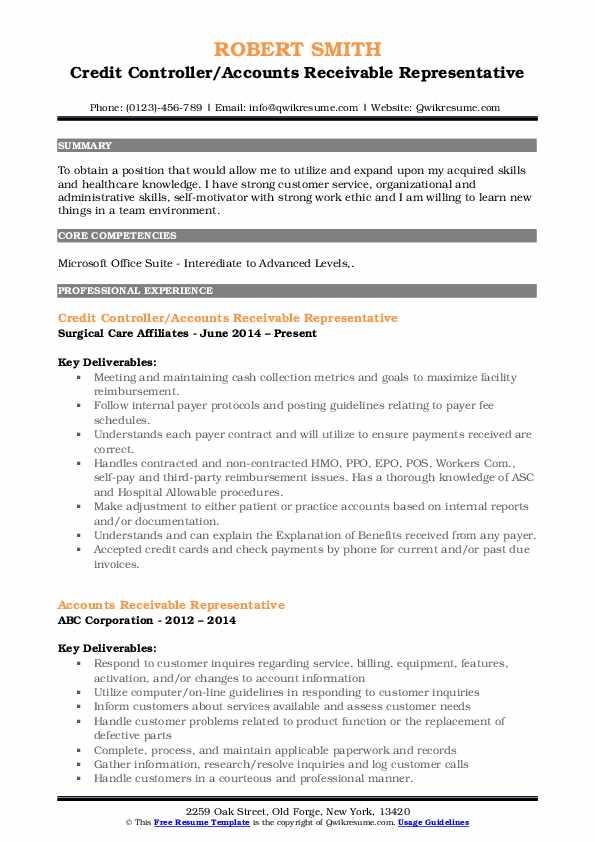 Accounts Receivable Representative Resume Samples Qwikresume