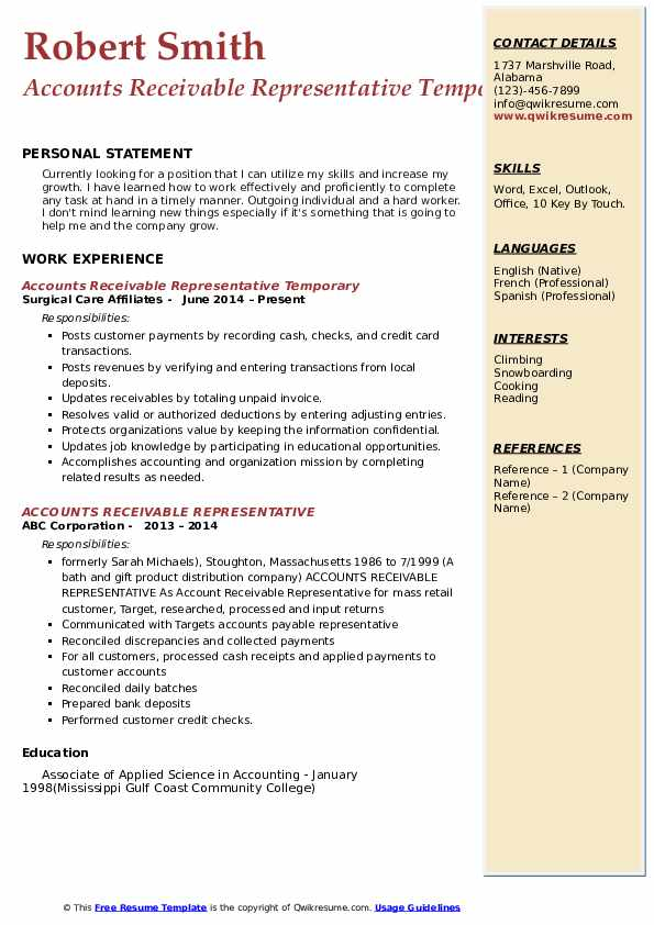 Accounts Receivable Representative Temporary Resume Model