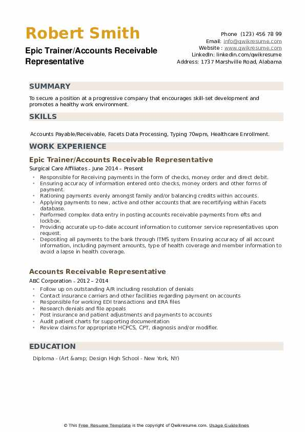Epic Trainer/Accounts Receivable Representative Resume Template