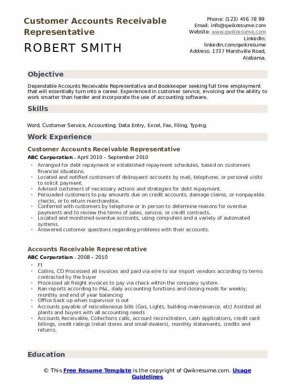 Customer Accounts Receivable Representative Resume Example
